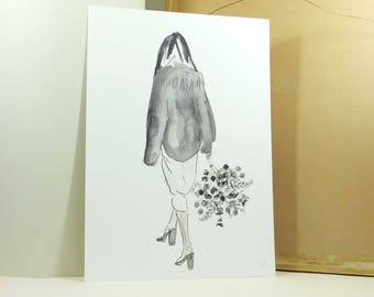 Floral Woman Fashion Illustration Watercolour Print A4