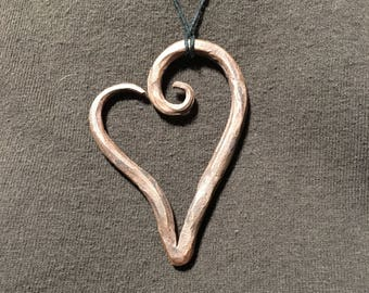Hand-forged copper heart pendant