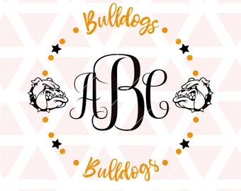 Bulldogs Monogram Frame svg, dxf, cricut, cameo, cut file, football, baseball, softball, volleyball, basketball, soccer, Tball