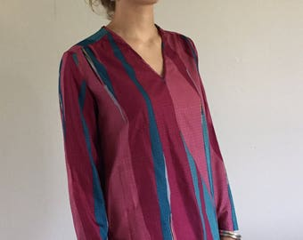 Vintage 70s Vera Neumann Silky Abstract Tunic | M/L