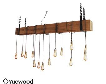 Douglas Bar Chandler, Houten Hanglamp, Rustieke lamp, Industriële Hanglamp, Handgemaakt