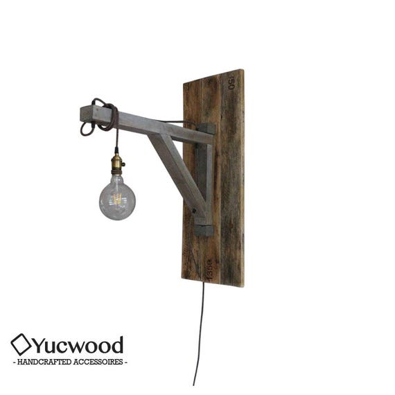"Pendant lamp, ""Ingmar"", reclaimed Wood, Unique wall lamp, Industrial wall lamp,"