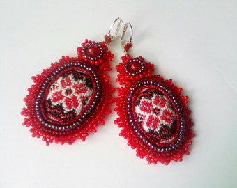 Ethnic beaded earrings with embroidery