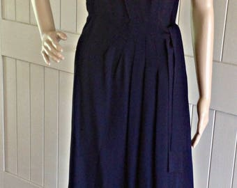 1940's Navy Blue Crepe Dress with Lace Bow .