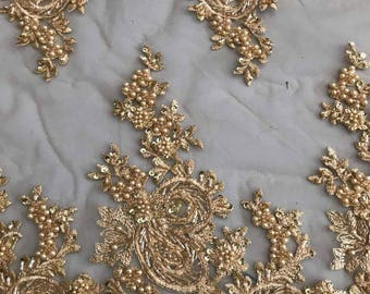 Lace Fabric/Luxury Gold Heavy Beaded Lace Fabric