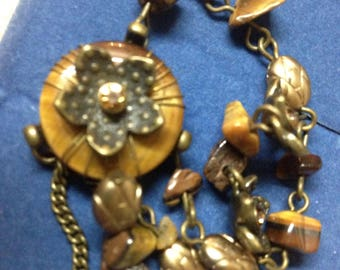 2007 Avon Tigers Eye Necklace And Earrings