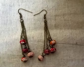 hand made glazed ceramic earthenware beads earrings