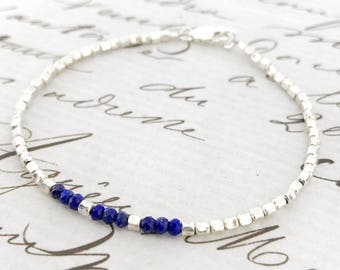 Lapis Lazuli Bracelet/Lapis Jewelry/Royal Blue Jewellery/Dainty Bracelet/Gemstone Bracelet/September Birthstone/Lapis Jewellery/Gift For Her