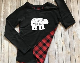 Mama Bear Red Buffalo Plaid Long Sleeve Tunic Top | Mom Shirt | Mama Gift
