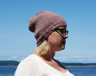 Handmade, knit, beanie, slouchy style, hat, toque, woman's, with pattern