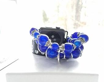 Apple Watch Band 38mm, Apple Watch Band, Apple Watch Band 42mm, Apple Watch Series 3, Black Leather and Blue Beaded Band, Wrap Bracelet
