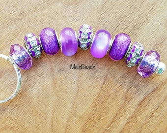 Purple bead keychain, large bead keychain, keychains for women,bead keychains, gifts for girlfriend, womens keychain, keychains, key chains