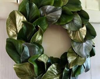 Magnolia Wreath, Farmhouse Wreath, Gold Magnolia Wreath, Silver Magnolia Wreath, Fixer Upper Style, Cottage Chic, Shabby Chic