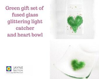 Green heart fused glass gift set - glittering light catcher, suncatcher, sun catcher, green present, green decor, present, trinket bowl