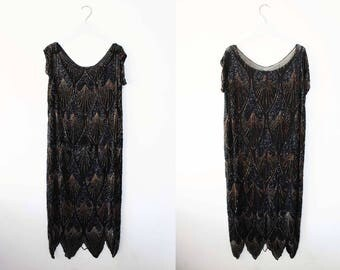 Original 1930s Sheer Black beaded Flapper Dress