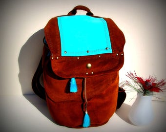 Brown turquoise leather brown leather bucket bucket bag