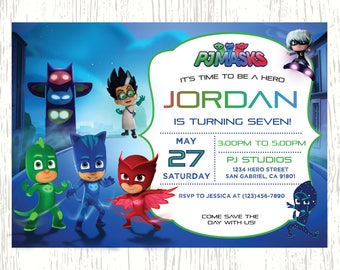 PJ Masks Invitation, PJ Masks Birthday, pj masks Party, pj masks Card, pj masks Printable, PJ Mask Theme Printables, Digital file
