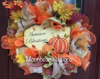 Autumn blessings wreath, fall wreath, fall door decor, outdoor fall wreath, pumpkin wreath, fall front door wreath, unique fall wreath