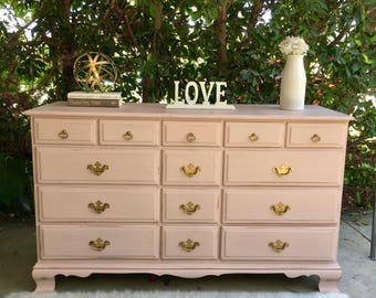 Gorgeous 14 drawer pink dresser