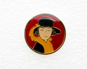 Vintage French Enamel Pin Back Button Badge