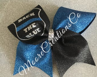 Back the blue cheer bow