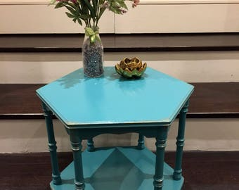 Vintage hexagonal side table hand painted in teal blue with antique gold accents