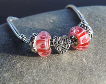 Bracelet Pink Pearl Heart Charms