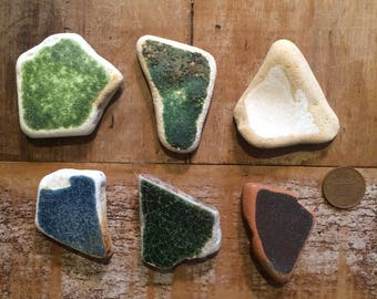 LARGE SEA POTTERY ~ Sea Tumbled Treasure ~ Mosaic Making ~ Art Supply ~ Lucky Charms ~ Devon Treasure