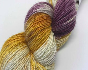Hand Dyed Sparkle Yarn Oddball Purple and Mustard Yellow Variegated 100g Approx 400m Sock 4Ply Fingering 75% Superwash Merino Mulesing Free
