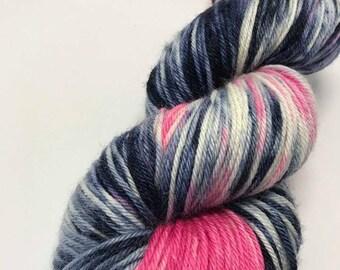 Hand Dyed Yarn Oddball Bright Pink and Navy  Variegated 75/25% Superwash Merino/Tussah Silk 225m/100g Hank Mulesing Free