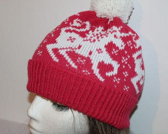 Cerise Pink pompom beanie hat with White Migical Unicorns