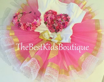 FREE SHIPPING!!! Baby Girl 1st BirthdayTutu Outfit, Birthday Tutu Dress 1st 2nd 3rd Birthday Outfit, Pink and Gold Flowers Tutu Heart Set