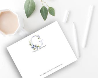 Whimsical Monogram G Printable Correspondence Card/ Thank You Card with Watercolour Monogram