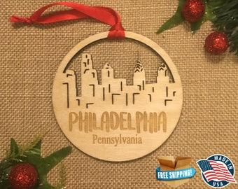 Philadelphia Pennsylvania Ornament *** Skyline Christmas Holiday Ornament *** PA