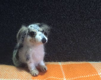 Felted. Dachshund, chihuahua cross, called Pebbles