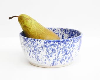 blue splatter & white bowl, medium, shiny, wheel thrown, handmade, ceramics, stoneware, glazed