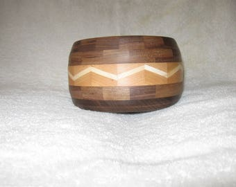 Hand turned segmented wood bowl