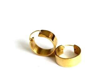 Shiny Brass earrings hoop bag