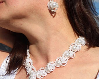 Tatting jewelry Romantic White Wedding Bridal Jewelry Set Bridal Necklace Necklace Earrings Gift For her For fiancee For Girlfriend For Mom