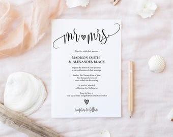 Rustic Wedding Invitation Template , Printable Invitation, Digital Download,Beautiful rustic Design,Elegant Invitation Template For Download
