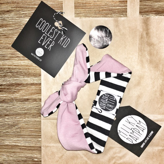 Baby bandana reversible pink with stripes black and white