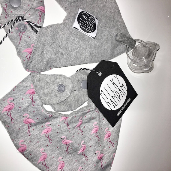 Triangle Cloth-bib-scarf with pacifier attachment on the back-flamingo pink Heather Grey