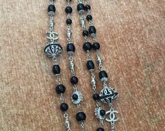 Unusual Chanel CC Black stone Tribal Gothic Style Necklace..Slightly damaged