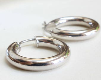 White Gold Hoops Medium Smaller 14k Gift for Her