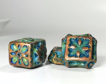 Handmade Square and Cube Bead Set, Cross Beads, Boho Art Beads, Polymer Clay Beads, Green Gold, Jewelry Making, Medieval, Antique, Edwardian