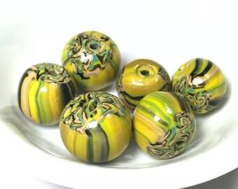Yellow Green Beads, Polymer Clay Beads, Striped Beads, Handmade Beads, Nature Inspired Beads, Yellow And Green Polymer Beads, Yellow Beads