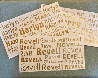 Personalized Name Stickers, Personalized Vinyl Stickers, Name Sticker Sheet, Back to School, Name Decals, Sticker Labels, Label Sheets, Name