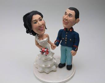 Firefighter custom wedding cake topper. Wedding Cake Topper. Wedding keepsake. The bride and groom. Cake decoration