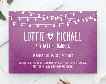Printable Wedding Invitation | RSVP | Save the date | Thank you card | PDF | Download | Fairylights | Berry| Watercolour | Lottie suite #002