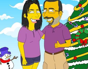 Custom Christmas, Christmas Cartoon, Christmas Caricature, Christmas Portrait, The Simpsons, Homer Christmas, Christmas Art